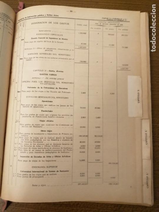 Militaria: LIBRO DE PRESUPUESTO-MINISTERIO INSTRUCCION PUBLICA Y BELLAS ARTES- AÑO 1935.- VER FOTOS - Foto 7 - 208121821