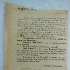 Militaria: ANTIGUO PANFLETO : MALLORQUINES, BANDAS DE FORAGIDOS APOYADOS POR CORSARIOS TRATAN DE DESENCADENAR... Lote 209773546