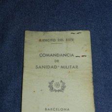 Militaria: (ALB4) CARNET COMANDANCIA DE SANIDAD MILITAR, EJERCITO DEL ESTE, BARCELONA 1937 EJERCITO POPULAR. Lote 209916855