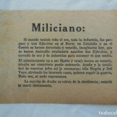 Militaria: MILICIANO. LA MARCHA DE AZAÑA OS RELEVA DE LA OBEDIENCIA; RESISTIR ES MORIR IDIOTAMENTE.. Lote 209942981