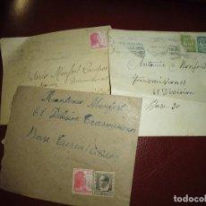 Militaria: TRES SOBRES CORRESPONDENCIA GUERRA CIVIL CON FRANQUEOS,A BASE TURIA. Lote 210009753