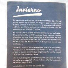 Militaria: ANTIGUO PANFLETO : AUXILIO DE INVIERNO. FALANGE. Lote 210120827