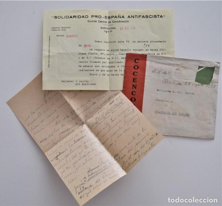 CARTA Y SOBRE SIN SELLO DE COCENCOO, COMITÉ CENTRAL DE COORDINACIÓN DE BARCELONA AGOSTO 1938 (Militar - Guerra Civil Española)