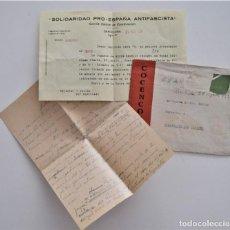 Militaria: CARTA Y SOBRE SIN SELLO DE COCENCOO, COMITÉ CENTRAL DE COORDINACIÓN DE BARCELONA AGOSTO 1938. Lote 210205528