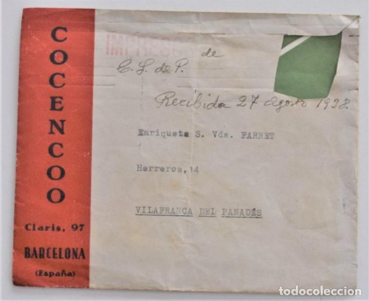 Militaria: CARTA Y SOBRE SIN SELLO DE COCENCOO, COMITÉ CENTRAL DE COORDINACIÓN DE BARCELONA AGOSTO 1938 - Foto 2 - 210205528