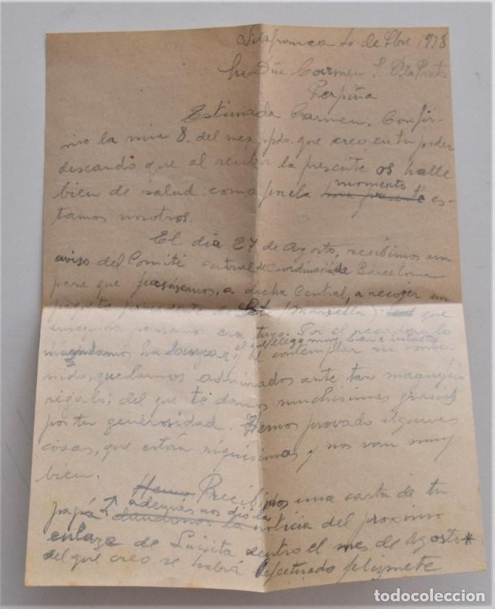 Militaria: CARTA Y SOBRE SIN SELLO DE COCENCOO, COMITÉ CENTRAL DE COORDINACIÓN DE BARCELONA AGOSTO 1938 - Foto 5 - 210205528