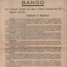 Militaria: SEVILLA.- BANDO QUEIPO DE LLANOS- RECUPERACION DE AUTOMOVILES.- MARZO 1939. VER FOTO. Lote 211643005