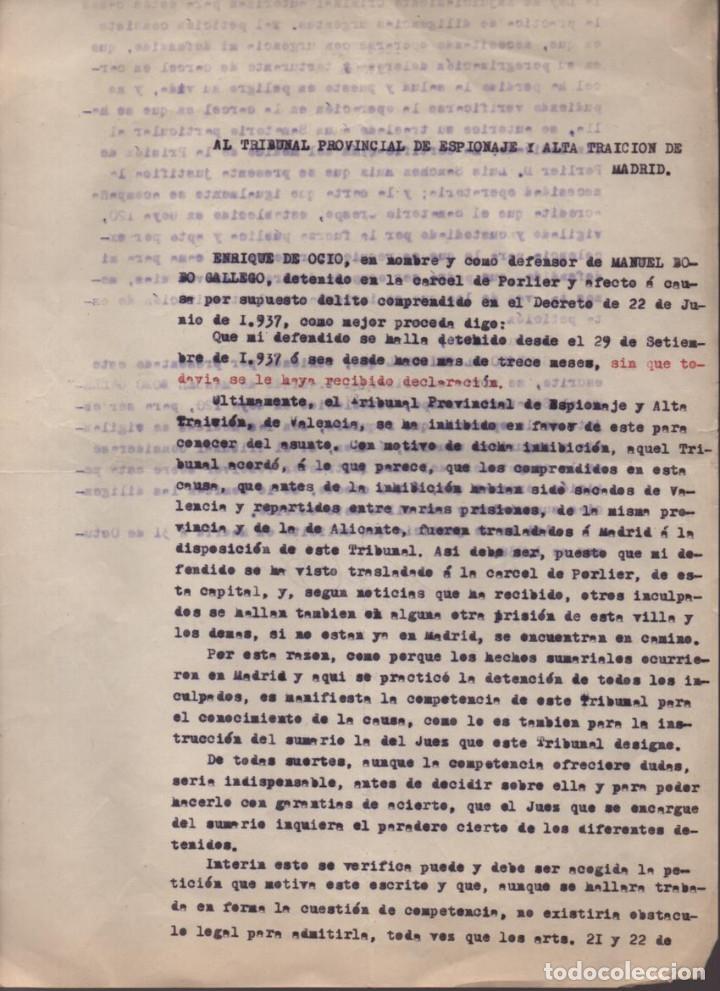 MADRID-1938-EXPEDIENTE-6 INDIVIDUOS- POR ESPIONAJE Y ALTA TRAICION-PASAR PLANOS AL ENEMIGO FACIOSO- (Militar - Guerra Civil Española)