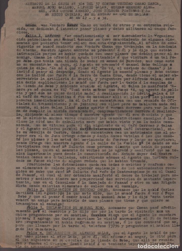 Militaria: MADRID-1938-EXPEDIENTE-6 INDIVIDUOS- POR ESPIONAJE Y ALTA TRAICION-PASAR PLANOS AL ENEMIGO FACIOSO- - Foto 3 - 211644073