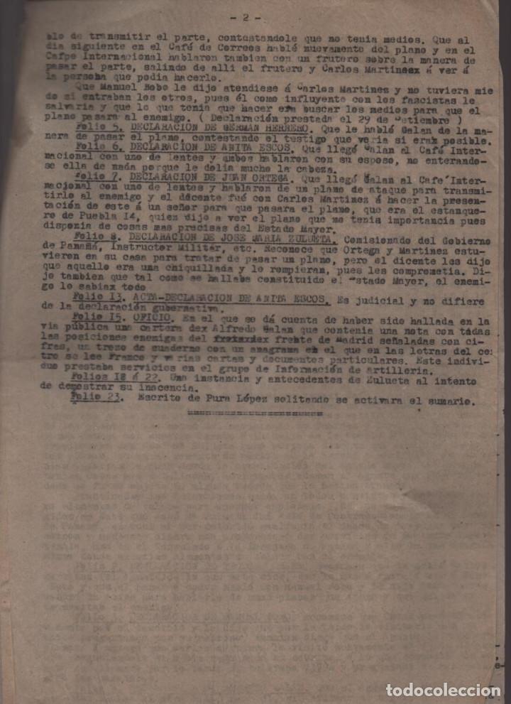 Militaria: MADRID-1938-EXPEDIENTE-6 INDIVIDUOS- POR ESPIONAJE Y ALTA TRAICION-PASAR PLANOS AL ENEMIGO FACIOSO- - Foto 4 - 211644073
