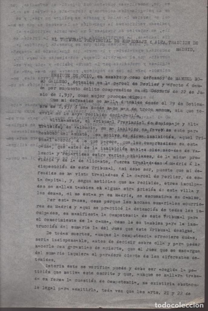 Militaria: MADRID-1938-EXPEDIENTE-6 INDIVIDUOS- POR ESPIONAJE Y ALTA TRAICION-PASAR PLANOS AL ENEMIGO FACIOSO- - Foto 7 - 211644073