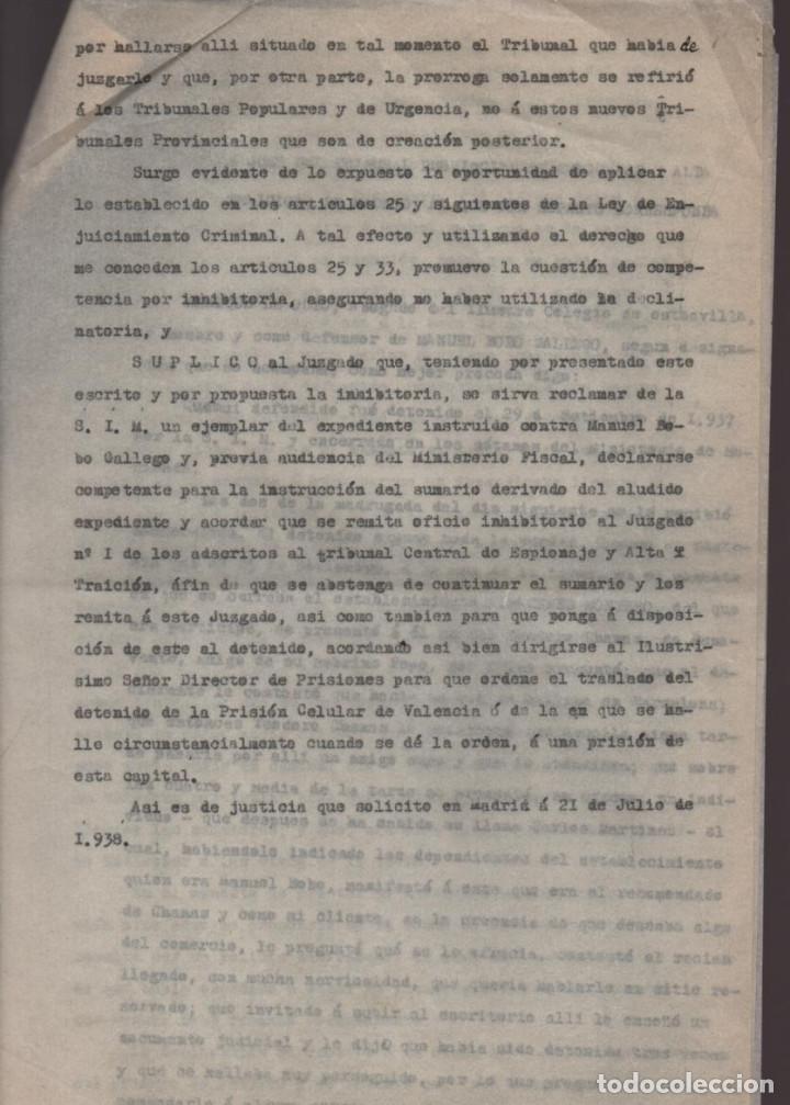 Militaria: MADRID-1938-EXPEDIENTE-6 INDIVIDUOS- POR ESPIONAJE Y ALTA TRAICION-PASAR PLANOS AL ENEMIGO FACIOSO- - Foto 13 - 211644073