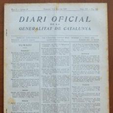 Militaria: DIARI OFICIAL DE LA GENERALITAT DE CATALUNYA - 9 JUNIO 1937 - CAMBIO NOMBRES PUEBLOS, BARCELONA. Lote 211945821