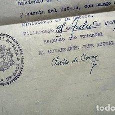 Militaria: DOCUMENTOS EJÉRCITO. 6º RGTO. BAILÉN, VILLARCAYO, JULIO 1937. Lote 213280963