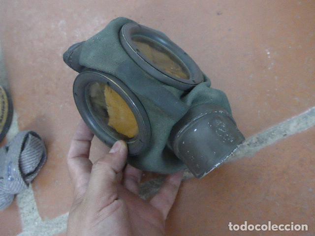 Militaria: Antigua mascara de gas alemana de guerra civil, Legion condor, con gris original. Antigas. Alemania. - Foto 2 - 213663223