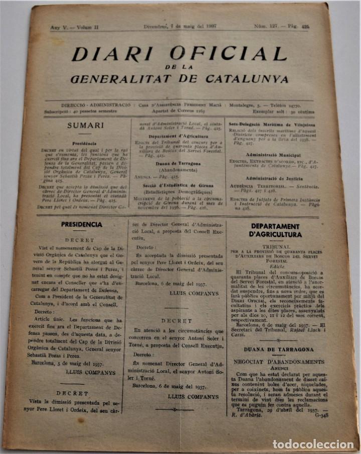 DIARIO OFICIAL DE LA GENERALITAT DE CATALUNYA - 7 MAYO 1937 - TARRAGONA, GIRONA, VILAJOIOSA .... (Militar - Guerra Civil Española)