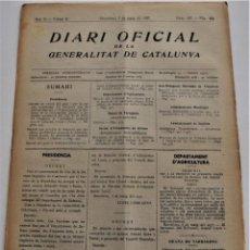 Militaria: DIARIO OFICIAL DE LA GENERALITAT DE CATALUNYA - 7 MAYO 1937 - TARRAGONA, GIRONA, VILAJOIOSA ..... Lote 214471381