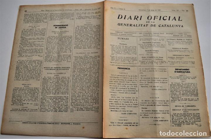Militaria: DIARIO OFICIAL DE LA GENERALITAT DE CATALUNYA - 7 MAYO 1937 - TARRAGONA, GIRONA, VILAJOIOSA .... - Foto 2 - 214471381