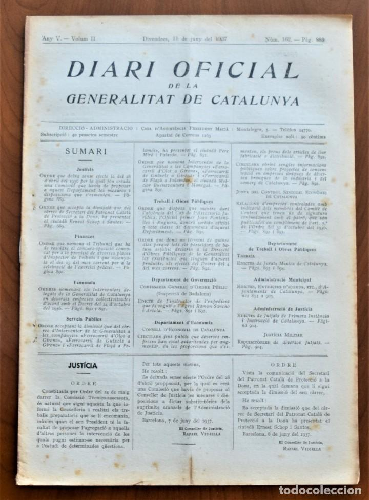 DIARI OFICIAL DE LA GENERALITAT DE CATALUNYA - 11 JUNIO 1937 - TERRASSA, EMPRESAS COLECTIVIZADAS (Militar - Guerra Civil Española)