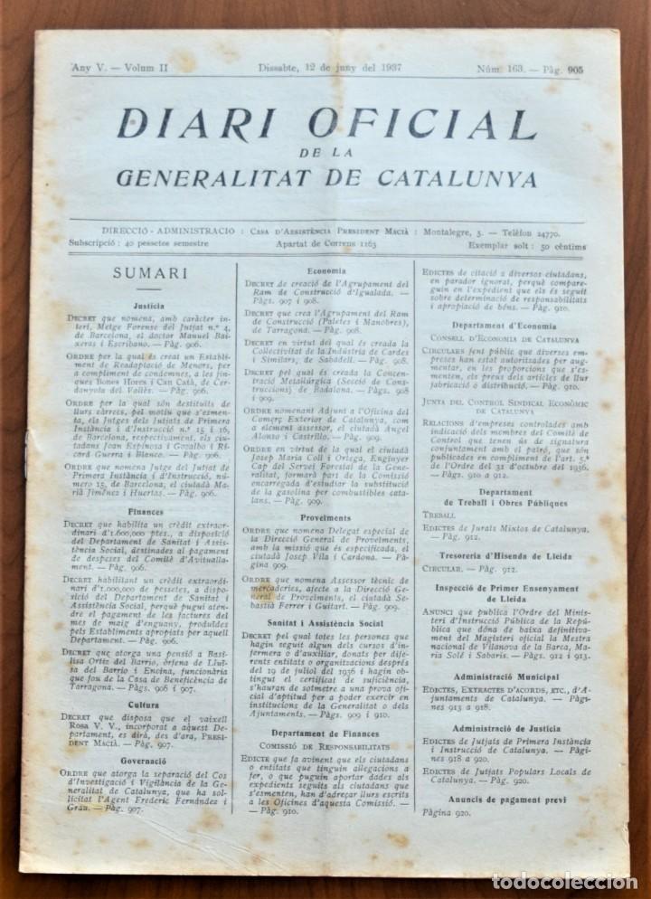 DIARI OFICIAL DE LA GENERALITAT DE CATALUNYA - 12 JUNIO 1937 - TERRASSA, EMPRESAS COLECTIVIZADAS (Militar - Guerra Civil Española)