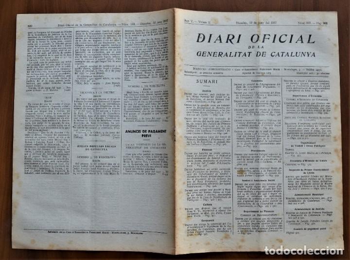 Militaria: DIARI OFICIAL DE LA GENERALITAT DE CATALUNYA - 12 JUNIO 1937 - TERRASSA, EMPRESAS COLECTIVIZADAS - Foto 2 - 214479717