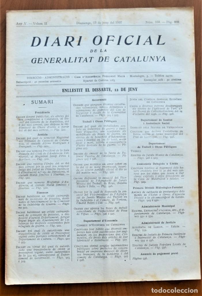 DIARI OFICIAL DE LA GENERALITAT DE CATALUNYA - 13 JUNIO 1937 - TERRASSA, BADALONA, FOSA DE TIPUS (Militar - Guerra Civil Española)