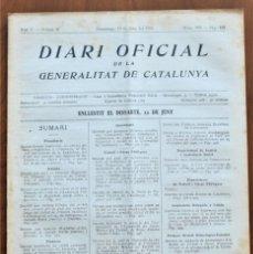 Militaria: DIARI OFICIAL DE LA GENERALITAT DE CATALUNYA - 13 JUNIO 1937 - TERRASSA, BADALONA, FOSA DE TIPUS. Lote 214480210