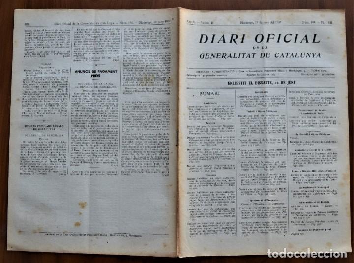 Militaria: DIARI OFICIAL DE LA GENERALITAT DE CATALUNYA - 13 JUNIO 1937 - TERRASSA, BADALONA, FOSA DE TIPUS - Foto 2 - 214480210