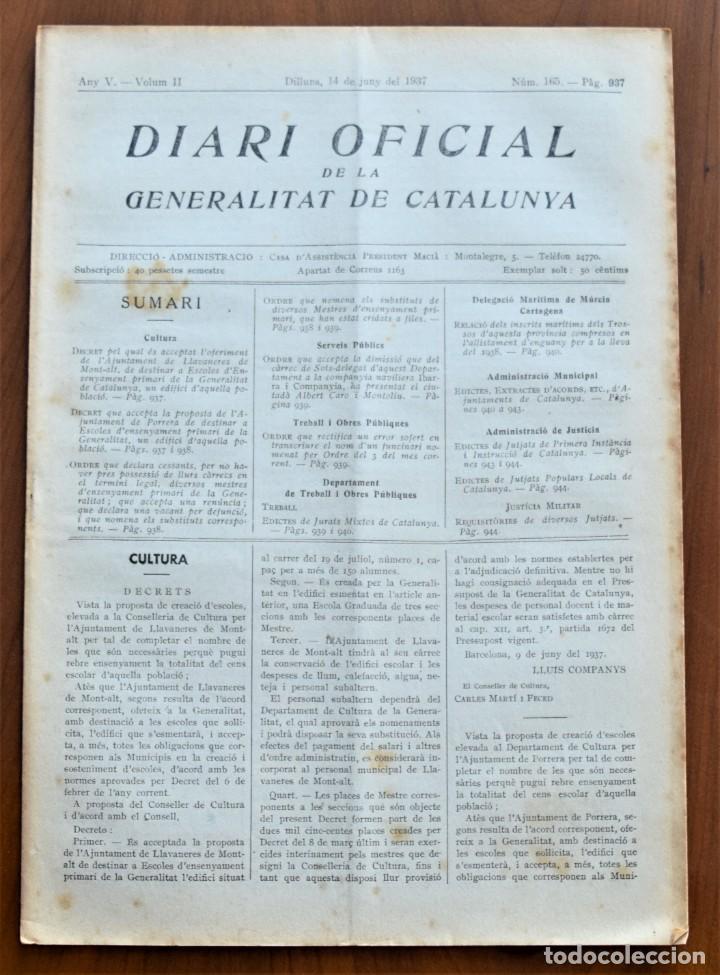 DIARI OFICIAL DE LA GENERALITAT DE CATALUNYA - 14 JUNIO 1937 TERRASSA, PORRERA, LLAVANERES MONT-ALT (Militar - Guerra Civil Española)