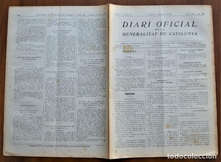Militaria: DIARI OFICIAL DE LA GENERALITAT DE CATALUNYA - 14 JUNIO 1937 TERRASSA, PORRERA, LLAVANERES MONT-ALT - Foto 2 - 214480736