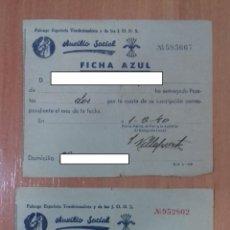 Militaria: PAREJA DE PAGOS AUXILIO SOCIAL FICHA AZUL. FALANGE. 1939 Y 1940. Lote 214832617