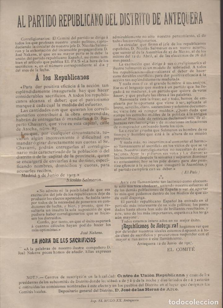 ANTEQUERA, AL PARTIDO REPUBLICANO,- AÑO 1903, MIDE: 32 X 21,50 C.M. VER FOTO (Militar - Guerra Civil Española)