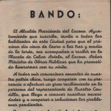 Militaria: LOJA,-GRANADA- BANDO MUNICIPAL. EL ALCALDE FRANCISCO GONZALEZ JIMENEZ.- DICIEMBRE 1955, VER FOTO. Lote 216733022