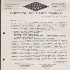 Militaria: CARTA COMERCIAL CALZADOS ITRAM EN LA QUE SE ESPECIFICA LA COLECTIVIZACION DE LA MISMA 21-6-1937. Lote 217784706