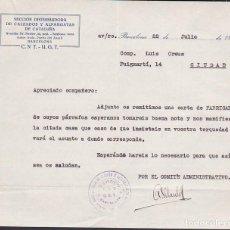 Militaria: CARTA SECCION DISTRIBUIDORA DE CALZADOS Y ALPARGATAS DE CATALUÑA CNT UGT 1937. Lote 217785215