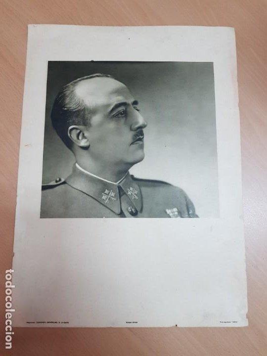 ANTIGUO CARTEL LAMINA FRANCISCO FRANCO CAUDILLO RETRATO OFICIAL EDICIONES ESPAÑOLAS SEVILLA MUY RARO (Militar - Guerra Civil Española)