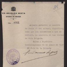 Militaria: TORREDONJIMENO--JAEN- 106 BRIGADA MIXTA,- EL JEFE D LA BRIGADA. JUNIO 1937-REPUBLICA-- VER FOTO. Lote 219674867
