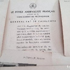 Militaria: LE FOYER ANTIFASCISTE FRANCAIS GUERRA CIVIL 7 FOTOS IMPRESAS GENERALITAT CATALUNYA ORIGINAL D11. Lote 220073371