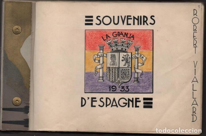 ALBUN CON FOTOS,POSTALES Y DIBUJOS, VISITA GRUPO FRANCESES A ESPAÑA AÑO 1933, VER FOTOS (Militar - Guerra Civil Española)