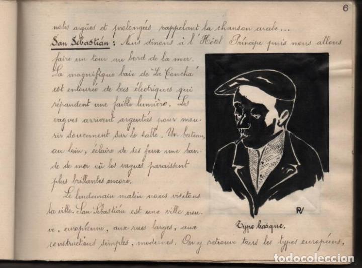 Militaria: ALBUN CON FOTOS,POSTALES Y DIBUJOS, VISITA GRUPO FRANCESES A ESPAÑA AÑO 1933, VER FOTOS - Foto 6 - 220700491