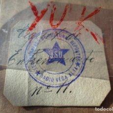 Militaria: RARO TICKET DE ENTRENAMIENTO DEL SECRETARIADO DE CULTURA Y DEPORTES - CUÑO JSU - GUERRA CIVIL. Lote 221498207