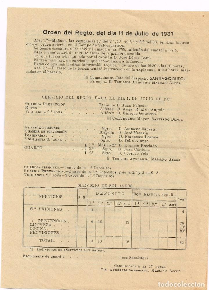 Militaria: 11 julio 1937 Regto. Infantería Aragón nº17 Zaragoza Orden General del Ejército del Centro 8-7-1937 - Foto 2 - 221515183