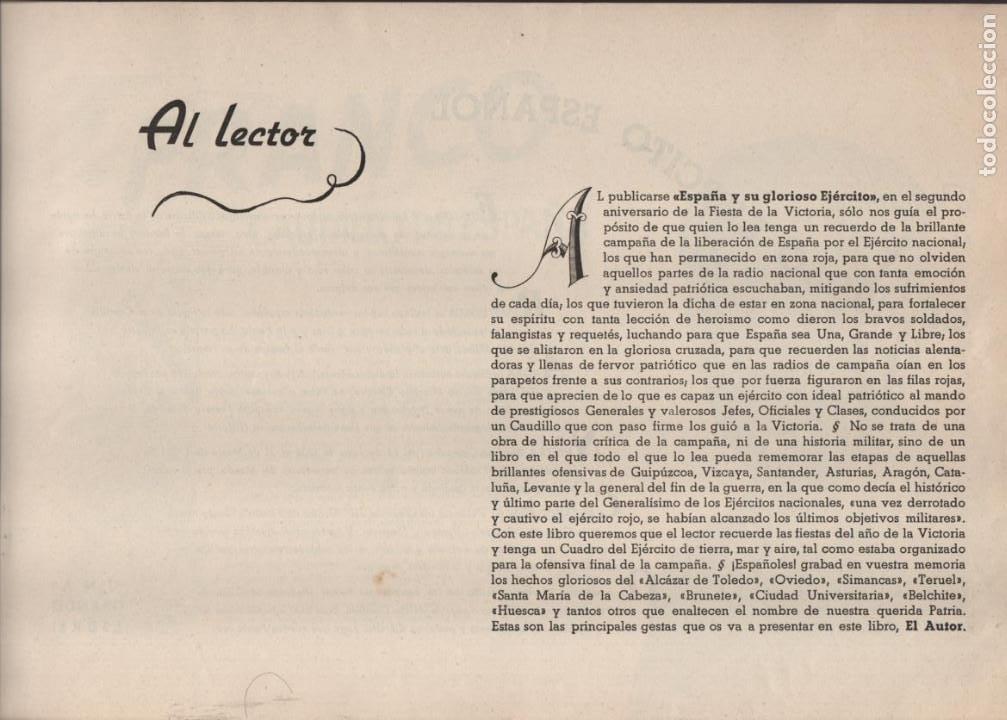 Militaria: ESPAÑA Y SU GLORIOSO EJERCITO,- NOTICIAS Y PARTES OFICIALES DE GUERRA-1936-1939- MAS DE 160 PAG. - Foto 3 - 221762632