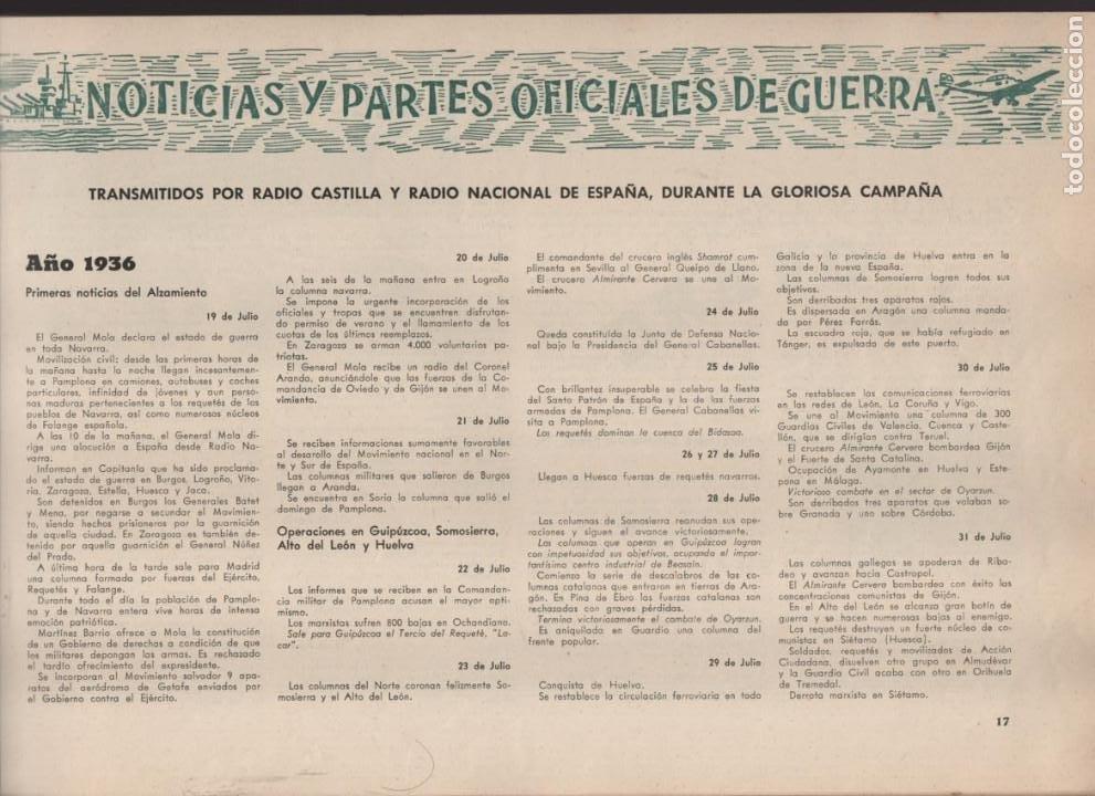 Militaria: ESPAÑA Y SU GLORIOSO EJERCITO,- NOTICIAS Y PARTES OFICIALES DE GUERRA-1936-1939- MAS DE 160 PAG. - Foto 6 - 221762632