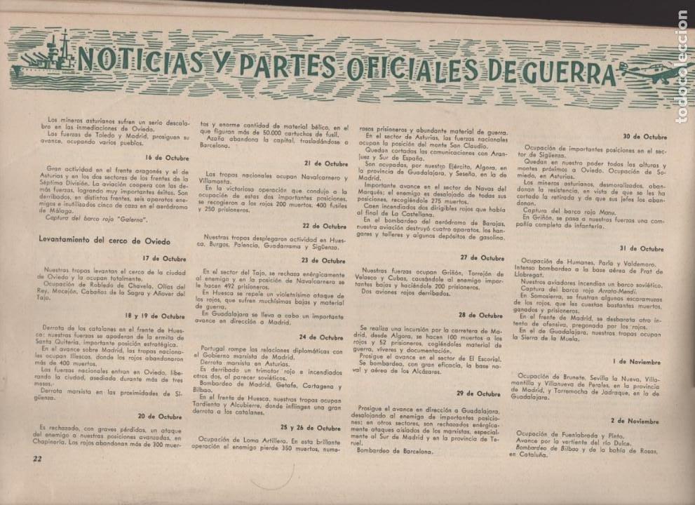 Militaria: ESPAÑA Y SU GLORIOSO EJERCITO,- NOTICIAS Y PARTES OFICIALES DE GUERRA-1936-1939- MAS DE 160 PAG. - Foto 7 - 221762632