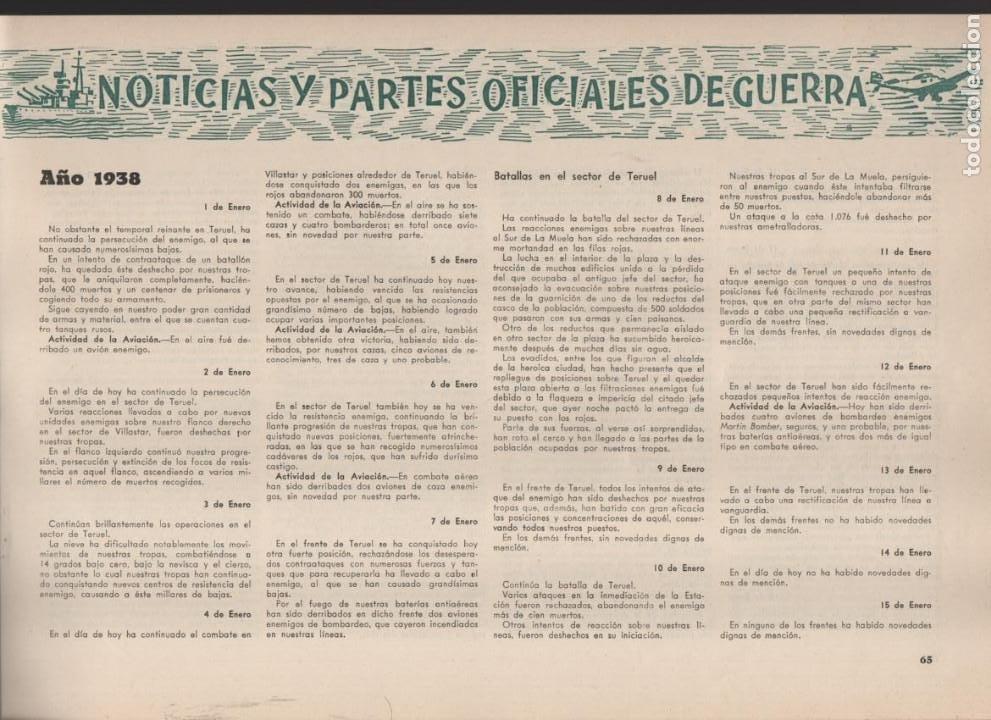 Militaria: ESPAÑA Y SU GLORIOSO EJERCITO,- NOTICIAS Y PARTES OFICIALES DE GUERRA-1936-1939- MAS DE 160 PAG. - Foto 9 - 221762632