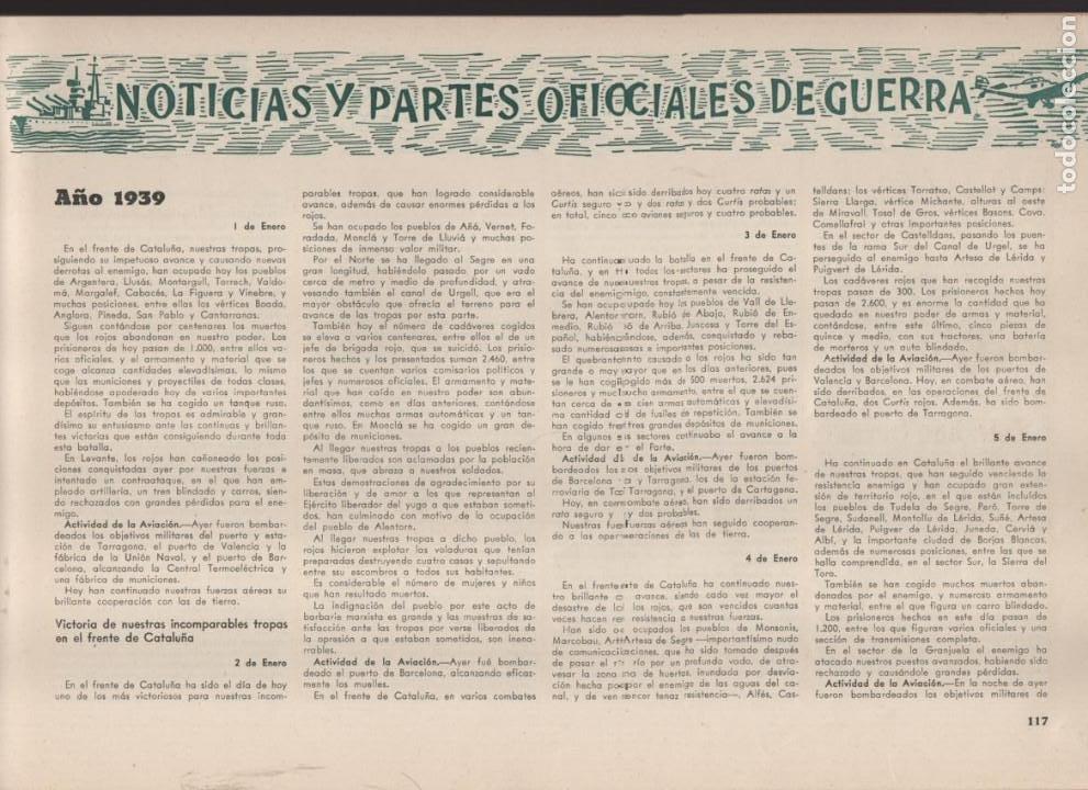 Militaria: ESPAÑA Y SU GLORIOSO EJERCITO,- NOTICIAS Y PARTES OFICIALES DE GUERRA-1936-1939- MAS DE 160 PAG. - Foto 10 - 221762632