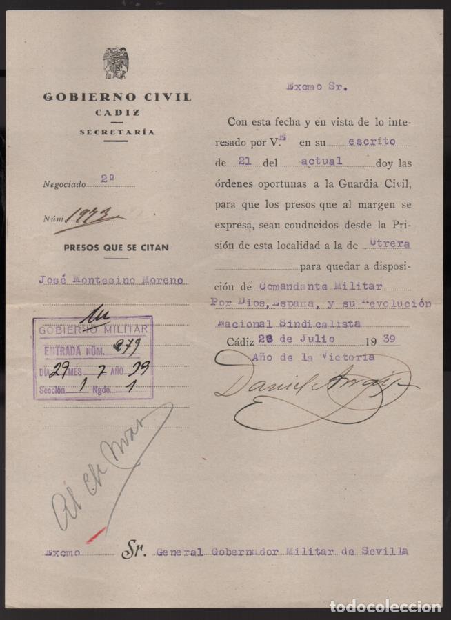 CADIZ, TRASLADO DE UN PRESO DE LA PRISION DE CADIZ A LA DE UTRERA-SEVILLA- 28-JULIO-1939, VER FOTO (Militar - Guerra Civil Española)