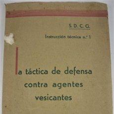 Militaria: LA TACTICA DE DEFENSA CONTRA AGENTES VESICANTES. SERVICIO DE DEFENSA CONTRA GASES - Z BARCELONA 1938. Lote 222797710