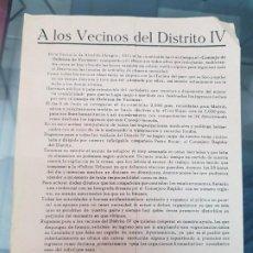 Militaria: CIRCULAR VECINOS DISTRITO IV CONSEJON DEFENSA DE VECINOS ANTI FASCISMO GUERRA CIVIL BARCELONA. Lote 223071717